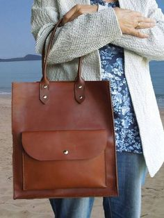 Tan Leather Tote Bag Market Shopper-SR
