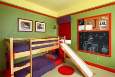 Bedroom, : Charming Design Boys Room Decoration With Blue Polka Dots Sheet In Walnut Frame Bunk Bed With Slider Also Red Circle Furry Rug In Boys Room Decoration