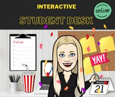 Interactive Student Desk with Clickable Objects (BITMOJI CLASSROOM)
