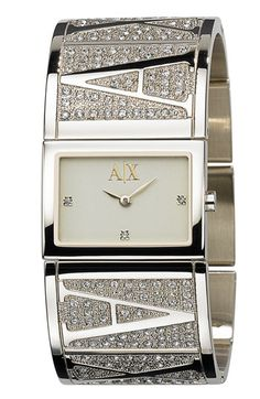 AX Armani Exchange Ladies' Rectangular Logo Bangle Watch, 26mm x 19mm | Nordstrom