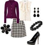purple cardigan, black and white skirt