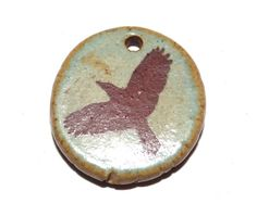 Ceramic Bird Pendant Stoneware Handmade Seafoam Earthy by Grubbi