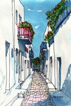 Mykonos Small Street Greece art print from an orig. Mykonos Small Street Greece art print from an original watercolor painting – Watercolor Sketch, Watercolor Paintings, Abstract Watercolor, Painting Abstract, Greece Art, Watercolor Architecture, Perspective Art, Perspective Drawing Lessons, Arte Sketchbook