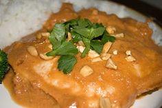 Crock Pot Thai Chicken  Ingredients: 4 chicken breasts 1 cup medium salsa 4 Tbsp peanut butter (I used reduced fat, creamy) 2 Tbsp lemon juice 1 Tbsp soy sauce 1/2 tsp ground ginger  I
