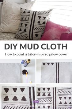 Learn how to make your own African mud clo… TUTORIAL: DIY Mud Cloth Pillow Cover. Learn how to make your own African mud cloth style throw pillow with paint! Diy Throws, Diy Throw Pillows, Diy Pillow Covers, Decorative Pillow Covers, Purple Couch, African Mud Cloth, Pillow Room, Pillow Fabric, Stencil