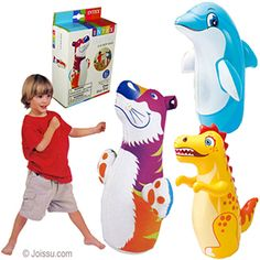 INTEX 3D ANIMAL BOP PUNCHING BAGS. In assorted animal shapes, anyone can be a big slugger with these inflatable bop bags. Made of heavy-duty vinyl for rugged durability. Weighted water base for spring-back action. Must be inflated. Assorted styles. Each gift boxed.  Sizes approx 37 X 20 Inches, packaging 7.5 X 5 X 2 Inches