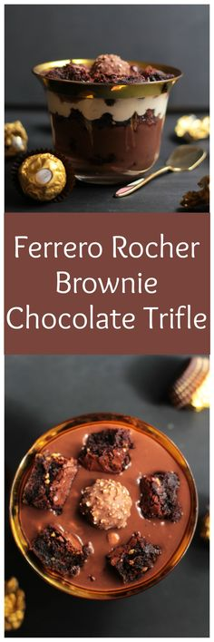 Brownie Chocolate Trifle Recipe This sinfully delicious Ferrero Rocher Brownie Chocolate Trifle is perfect for sharing with your loved ones.This sinfully delicious Ferrero Rocher Brownie Chocolate Trifle is perfect for sharing with your loved ones. Trifle Desserts, Ice Cream Desserts, Dessert Bars, Just Desserts, Delicious Desserts, Dessert Recipes, Delicious Chocolate, Chocolate Trifle, Chocolate Brownies