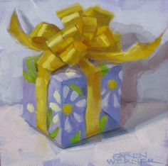 """Boxed & Bowed"" original fine art by Karen Werner Christmas Paintings, Christmas Art, Xmas Drawing, Winter Flowers, Art Impressions, Mini Canvas, Mini Paintings, Fine Art Gallery, Art Lessons"