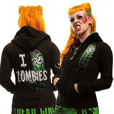 Women's I Heart Zombies Hoody by Kreepsville 666 Zombie Shop, Zombie Girl, Sweater Hoodie, Hoody, Bride Of Frankenstein, Vintage Classics, Mommy Style, Steampunk Clothing, Pin Up Style