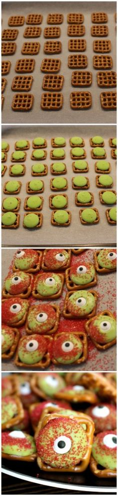 How to make zombie eyeballs! Might work great for a Plants vs. Made these for plants vs zombie party and loved it! So easy to make and I left out the red sprinkles I like them better that way. Halloween Sweets, Halloween Goodies, Halloween Food For Party, Halloween Birthday, Happy Halloween, Halloween Pretzels, Halloween Crafts, Halloween Ideas, Halloween Eyeballs