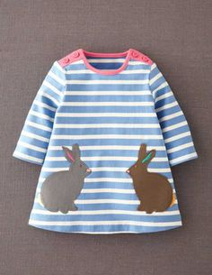I've spotted this @BodenClothing Appliqué Jersey Stripe Dress Forget-me-not/Bunnies