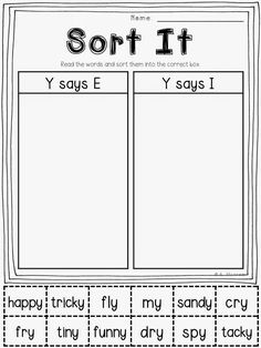 FREE Sorting Printable:  Y as a Vowel