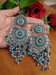 Excited to share this item from my shop: Blue German Silver Earrings/Long Earrings/Indian Jewelry/Oxidised Earrings/Boho Earrings/Indian Earrings/Pakistani Earrings Indian Jewelry Earrings, Jewelry Design Earrings, Silver Jewellery Indian, Tribal Jewelry, Women's Earrings, Silver Earrings, Silver Jewelry, Fancy Earrings, Women's Jewelry
