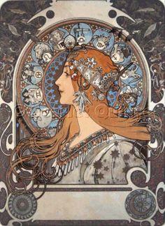 Scarlet Quince cross stitch chart: Zodiac - Alphonse Mucha