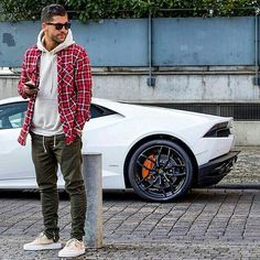 Kosta Williams! White Lamborghini #Men #Fashion #Street #menswear