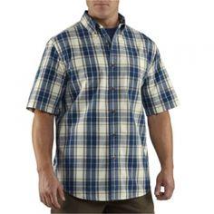 Carhartt Mens Plaid Button-Down Shirt - Light Brown - Mills Fleet Farm
