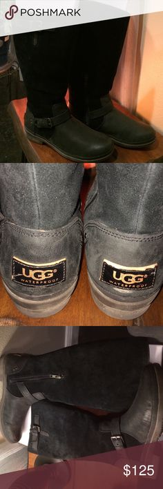 Ugg Thomsen Waterproof Boot Riding Size 8 Ugg Thomsen Black Waterproof Size 8. These boots have been worn. I have an Ugg boot obsession. If you're in a region that gets snow &/or rain then you'll love these boots. Ugg waterproof boots were money well spent. You get fashion & function. The stock photos contain the measurement & better view if the boot style. Pet free & smoke free home. UGG Shoes Winter & Rain Boots