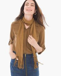 "Sammy Faux-Suede Scarf in Neutral,  A modern skinny scarf in fringed faux-suede has the festival-going vibe that makes the summer that much chicer. Perforated fabric. Dimensions: 5.5"" x 75"". Polyester, spandex. Machine wash."