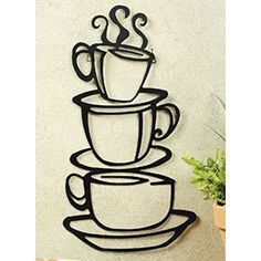 Black Coffee Cup Silhouette Metal Wall Art for Home Decoration Java Shops Restaurants Gifts by Super Z Outlet ** You can find out more details at the link of the image.