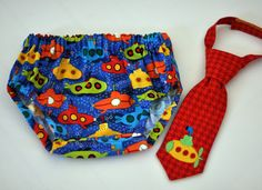Diaper Cover and Little Guy Tie - Yellow Submarine - Red Blue Yellow Submarine Little Guy Tie and Diaper Cover - Submarine or Nautical Party, Cake Smash, Photo Prop
