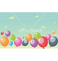 Festive balloons background with sky and clouds vector by bejotrus on VectorStock®