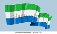 National flag vector editable banner ribbon country world Sierra Leone Africa Republic of Sierra Leone - stock vector