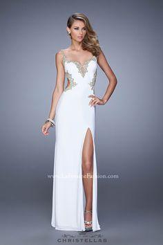 Glittering metallic appliqué accents are divine on this slim chiffon gown! La Femme 20965 Dress / $438 - Shop the look at: www.christellas.com #prom #dresses #LaFemme