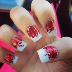 Red Polka Dot Nail Art with White Background.