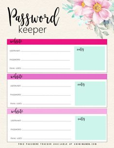 Keep your online accounts organized. This free password tracker will help you secure your important details in one spot. There are 8 designs to choose from! Free Planner, Planner Pages, Happy Planner, Printable Planner, Free Printables, Password Printable, Free Password, Password Keeper, Password Ideas