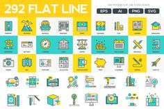 292 Modern Flat Line icons Pack on Behance