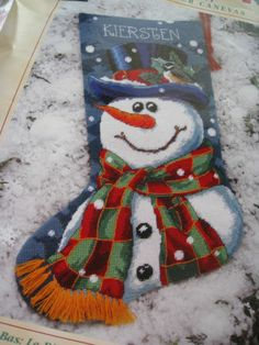 """Christmas Needlepoint Holiday Stocking Kit,MR. FROST,Snowman,Frosty,Trainer,16"""""""