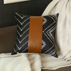 The Curated Nomad Baywood Black/Brown Faux Leather Pillow Cover (Removable Cover - Pillow Covers - Zipper Closure)(Faux Fur, Ikat) Leather Throw Pillows, Leather Pillow, Afro Chic, Comfortable Pillows, Decor Pillows, Sofa Pillows, Accent Pillows, Geometric Pillow, The Ranch