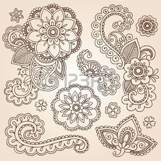 Henna Paisley Mandala Flowers Mehndi Tattoo Doodles Set Stock Photo - 15940000