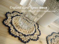 American 100% blue beige cotton crochet doily table runner