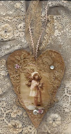 Edwardian Winter Girl in Pink Vintage Lace Heart