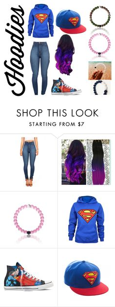 """""""superman"""" by gabystyle-12 ❤ liked on Polyvore featuring Converse, women's clothing, women's fashion, women, female, woman, misses, juniors, superman and Hoodies"""
