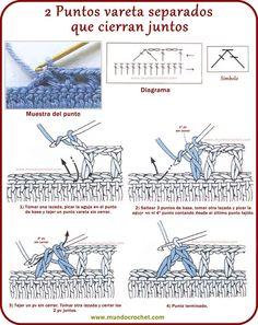 2 puntos varetas separados que cierran juntos Crotchet Stitches, Crochet Stitches For Beginners, Crochet Stitches Patterns, Crochet Basics, Crochet Designs, Filet Crochet, Crochet Cord, Crochet Diagram, Diy Crochet