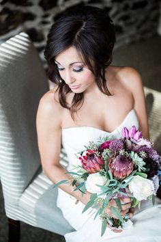 Soft + glam wedding day hair + makeup idea - hair pulled to the side for a tousled look + light smokey eye  {Hannah Bjorndal Photography}