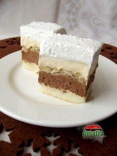 Ingrediente : Pentru blat: 4 linguri faina 5 linguri de zahar 5 albusuri 3 linguri ulei 1/2 pachet praf de copt Pentru crema: 4 linguri amidon alimentar (faina) 150 gr zahar 3 plicuri zahar vanilat 5 galbenusuri 500 ml lapte 100 gr... Romanian Desserts, Romanian Food, Sweets Recipes, Just Desserts, Cake Recipes, Homemade Sweets, Homemade Cakes, Cake Cookies, Cupcake Cakes