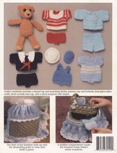 Teddy Tote Along Bassinet, Annie's Crochet Pattern 301T Purse & Doll Playset - Dolls & Toys