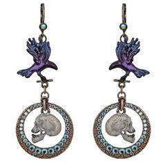 Nevermore Raven Leverback Earrings