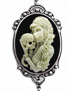 """Miss Dia De Los Muertos"" Cameo Necklace by Couture by Lolita (Black) #InkedShop #cameo #necklace #accessories #jewelry #diadelosmuertos"