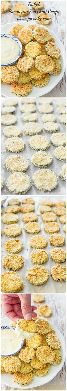 These parmesan zucchini crisps are a healthy treat, perfect for an appetizer or just a snack! They are baked not fried!