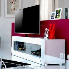 meuble tv blanc laqu 2 niches design - Meuble Tv Blanc Glossy