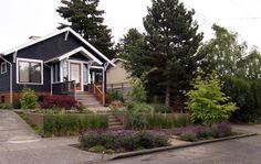 dark paint house, light wood door, lavender walk