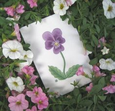 Black and Blue Pansy Needle Painting Embroidery - a Hand Embroidery Design as an Alternative to Cross-stitch.