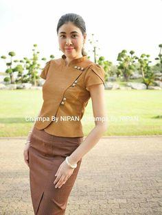 Traditional Dresses Designs, Traditional Outfits, Myanmar Dress Design, Fancy Kurti, Myanmar Traditional Dress, Thai Fashion, Thai Dress, Dress Making Patterns, Batik Dress