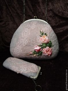 """Felted bag by Grinat Сумочка """" Розы для мамы """" - кремовый,цветочный,сумка женская,сумка ручной работы"""