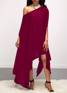 Asymmetric Hem Skew Neck Purple Red Dress | Rotita.com - USD $31.32