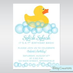 duck birthday party invite | Rubber Duck Printable Birthday Party Invitation